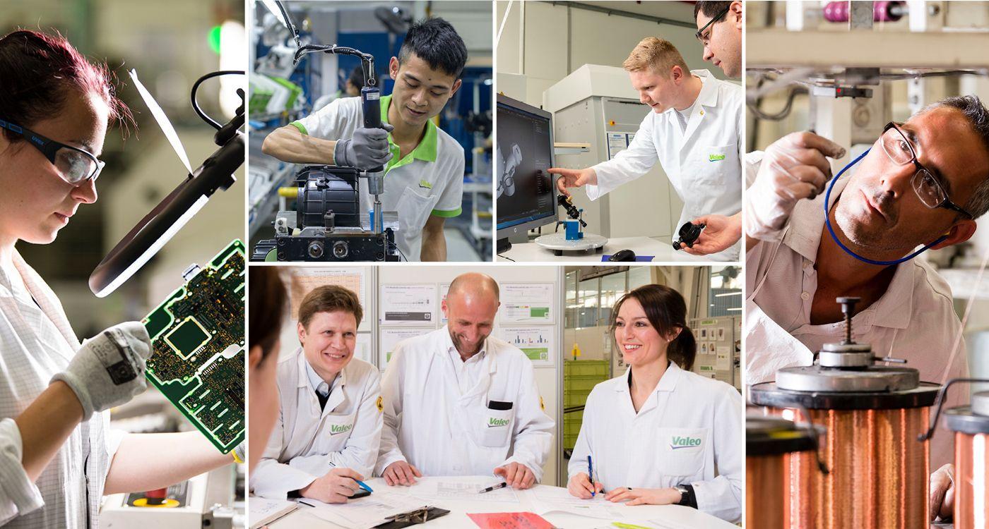 Collage de photos des employés Valeo dans le monde entier