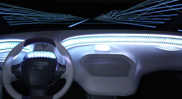 An image of a car's dashboard with Valeo's interior lighting system