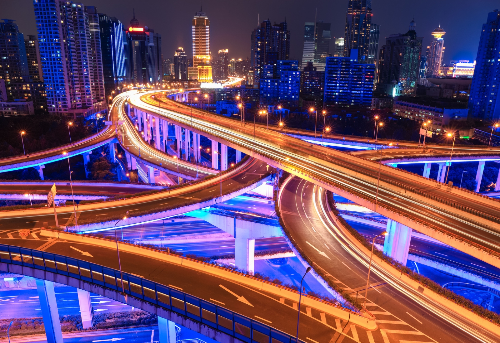 Colorful city interchange overpass at night in shanghai,China