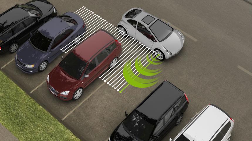 Valeo Park4U system demo in a parking lot