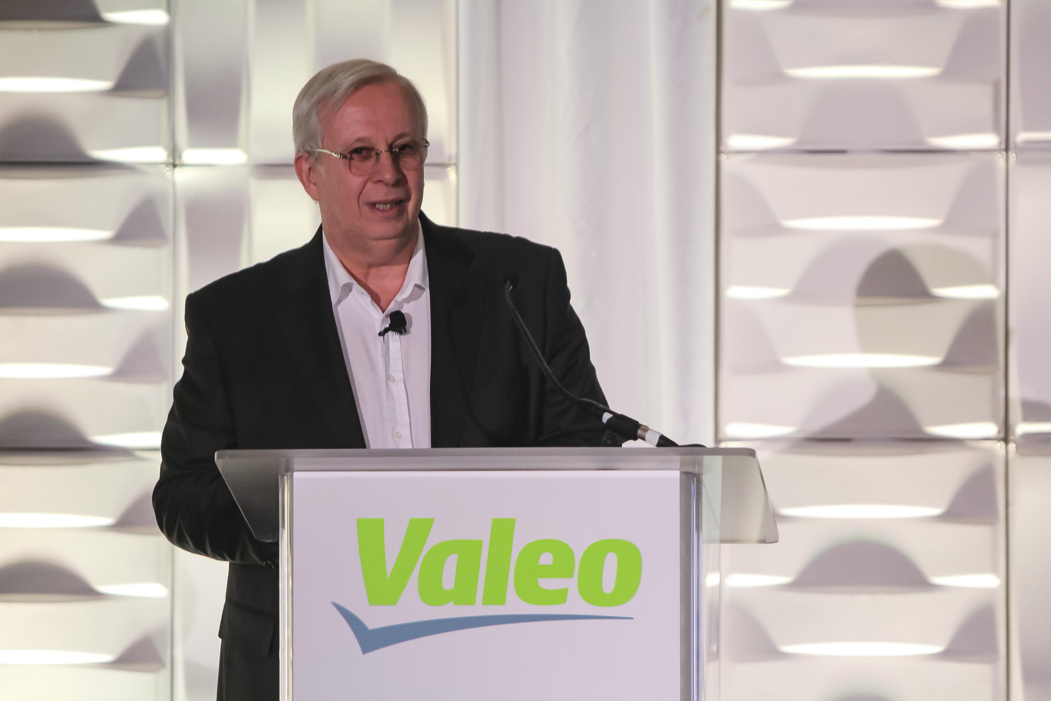 Valeo CEO Jacques Aschenbroich giving a speech at CES 2018