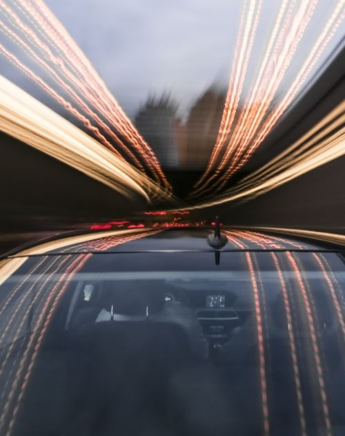 Picture of a car in movement