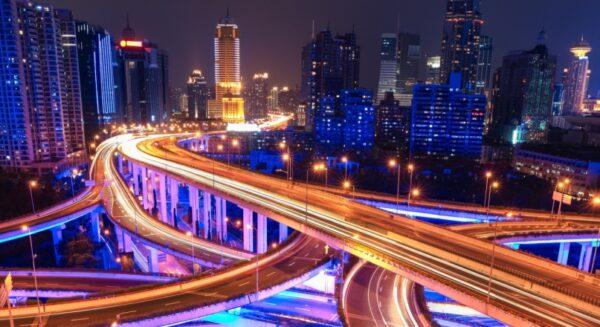 Shanghai overpass nightview