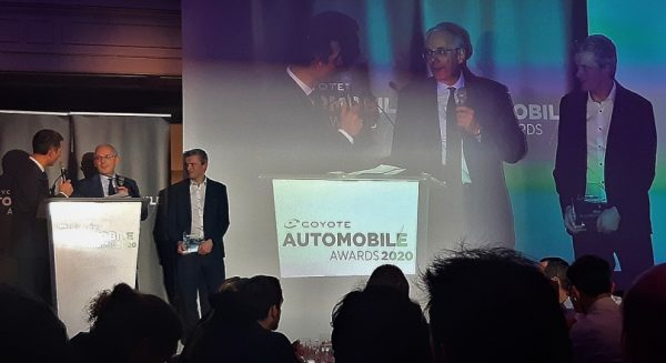 Guillaume Devauchelle and Enda ward at coyote automobile awards ceremony