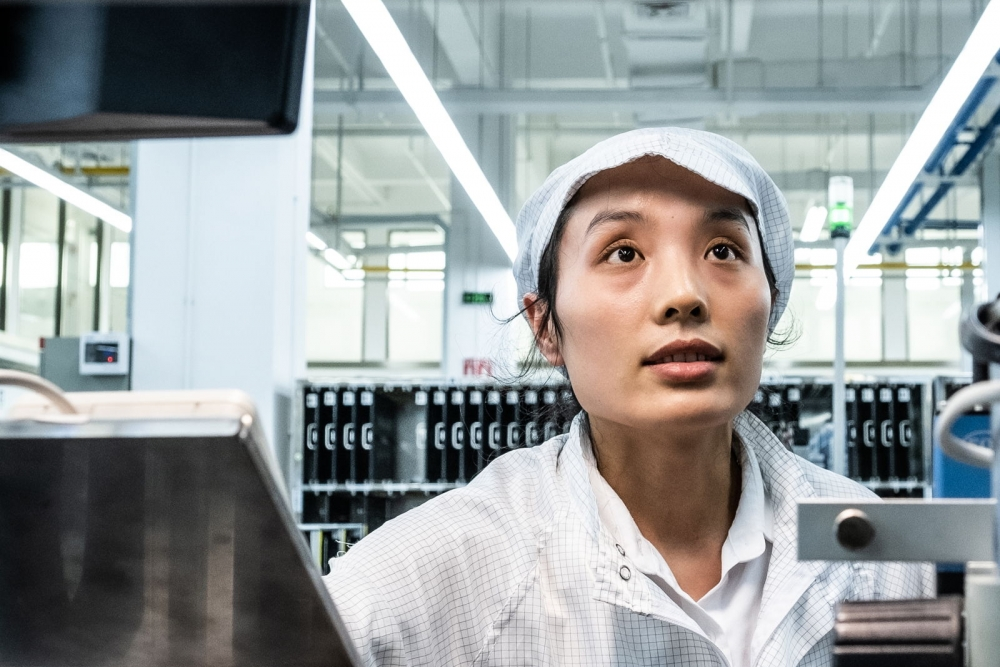 woman working in China plant