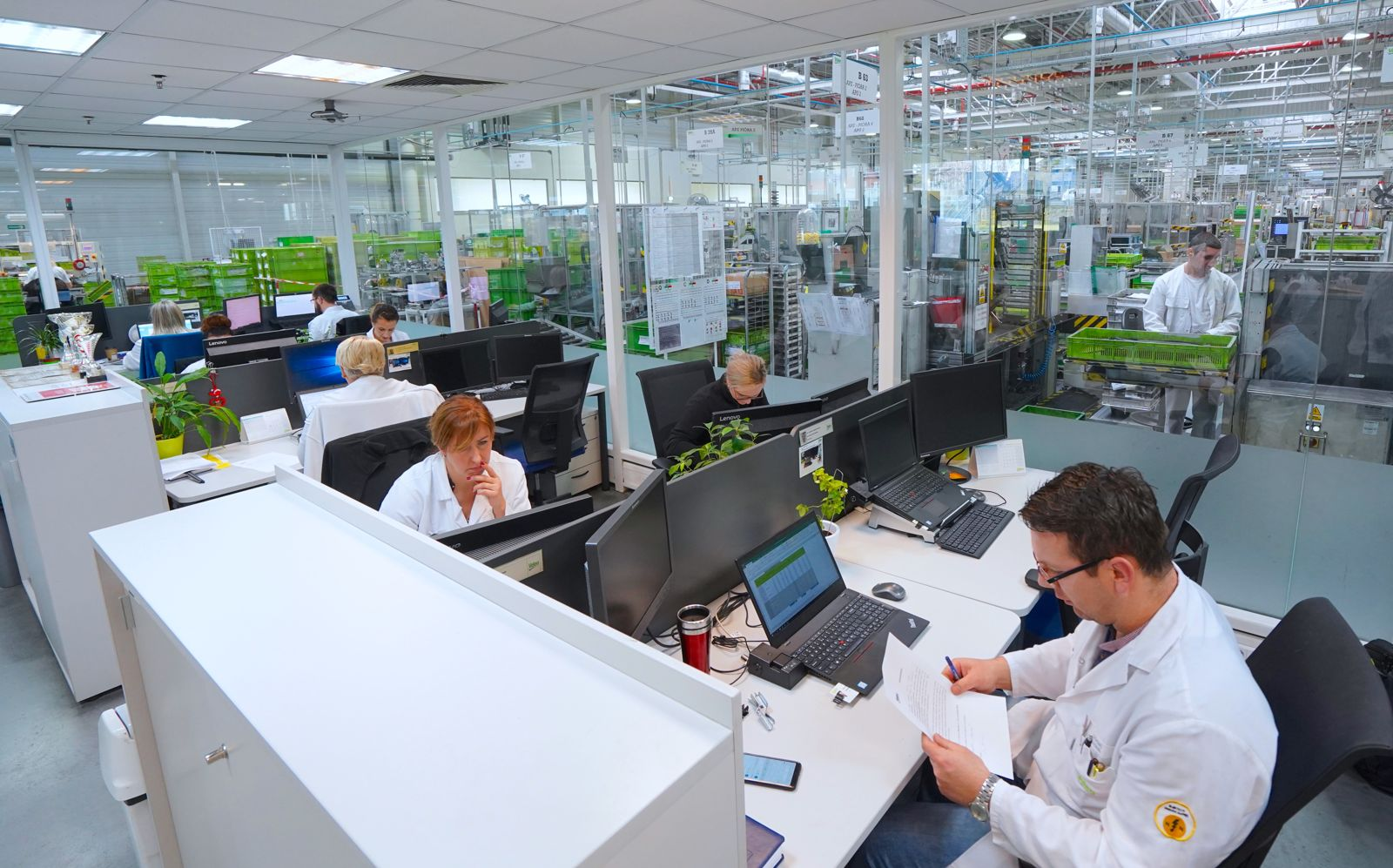 Valeo employees in shared office in Poland Skawina plant