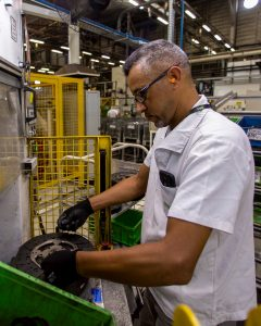 An employee at a Valeo plant in Brazil