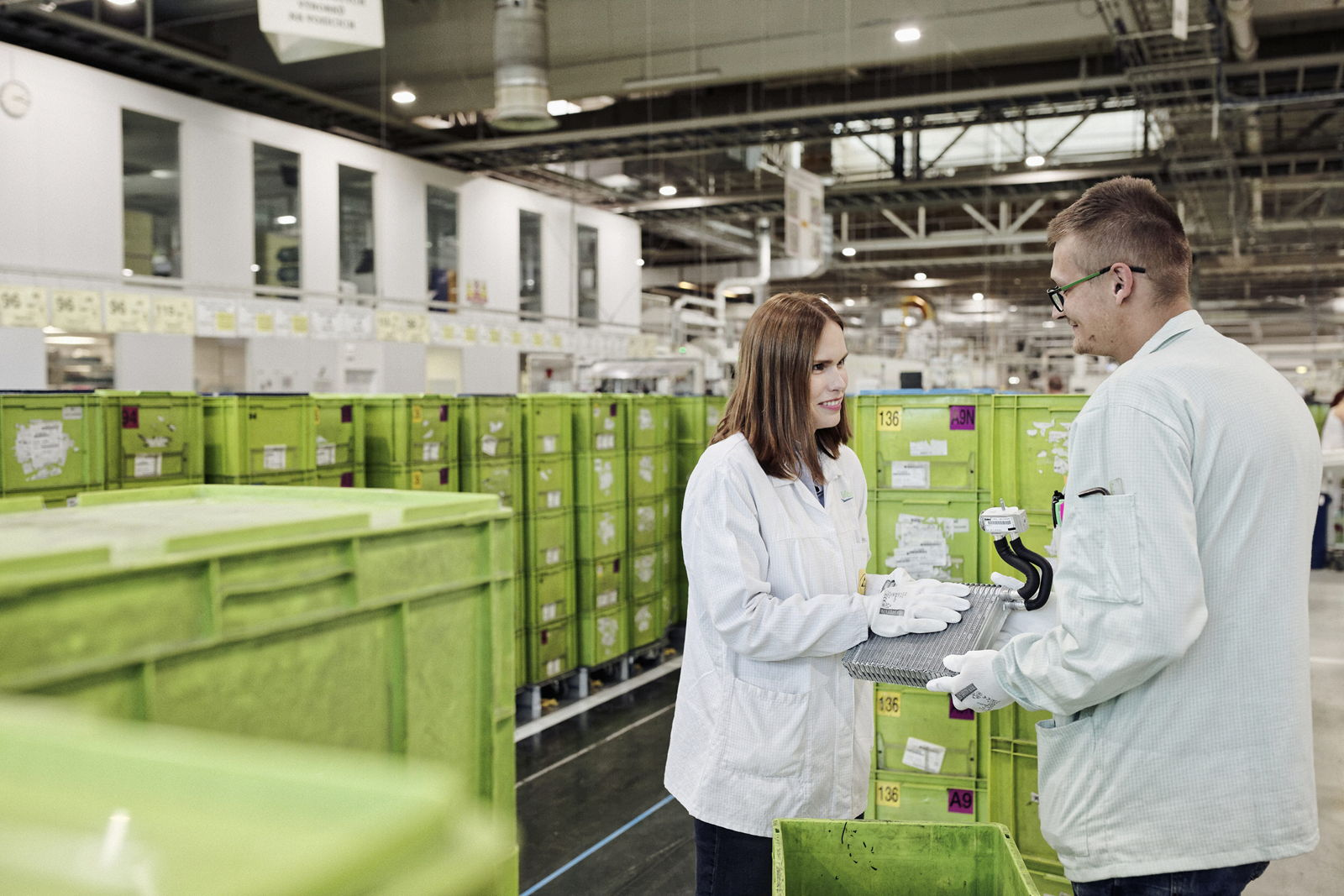 Two workers at Valeo Czech Republic plant