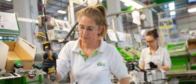 Two women working in Valeo production plant in Bursa Turkey