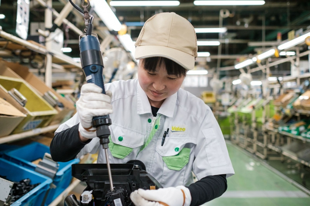 A worker in Valeo Japan