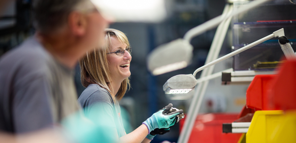 An employee working in a Valeo plant in Czech Republic