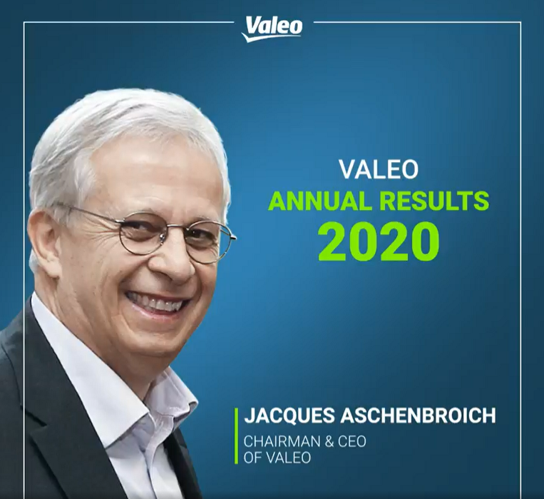 Valeo annual results 2020. Jacques Aschenbroich, chairman & CEO of Valeo