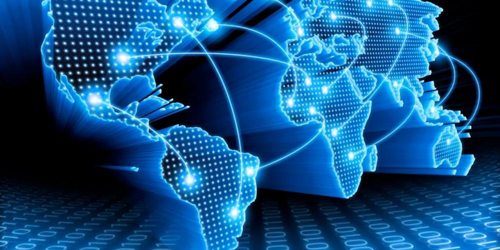 Weltkarte mit Netzwerk