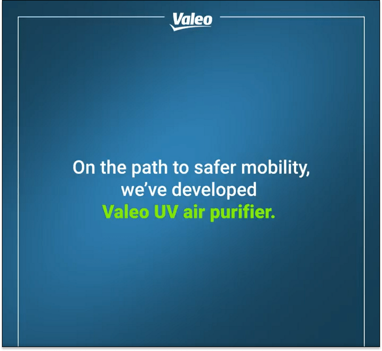 On the path to safer mobility, we've developed Valeo UV air purifier.